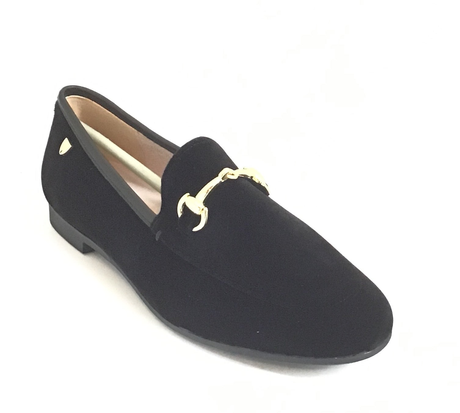 Venettini Black Suede Slip On With Chain