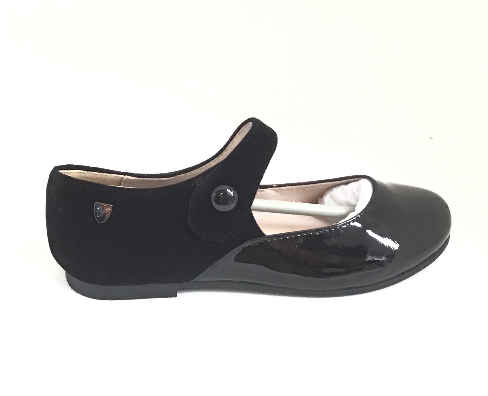 Venettini Black Velvet And Patent Mary Jane