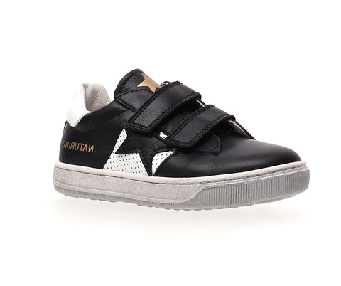 Naturino Black Double Velcro Sneaker with Star