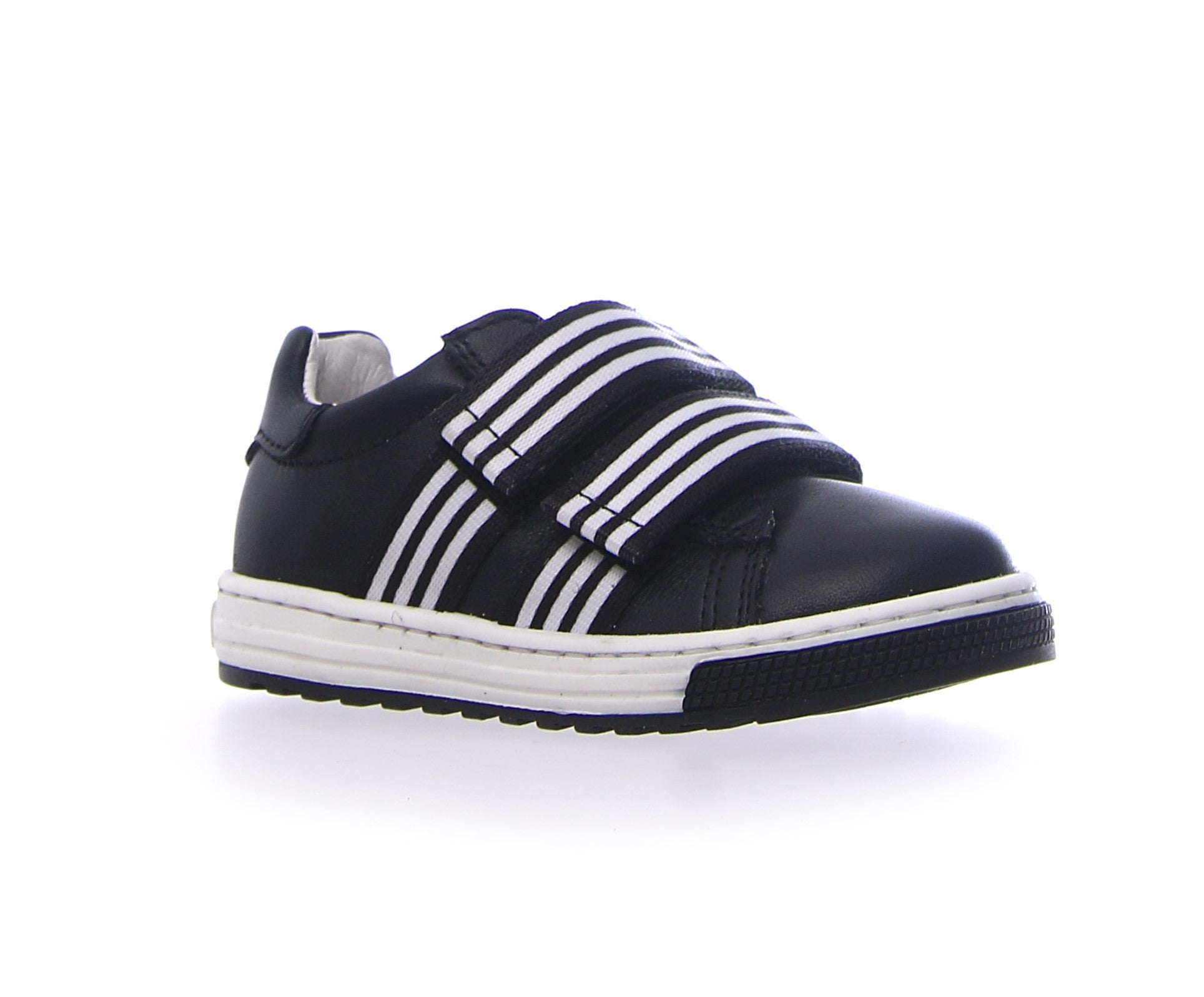 Naturino Black Sneaker with Striped Double Velcro