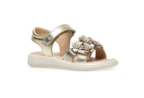 Naturino Platinum Sandal with Flower Strap