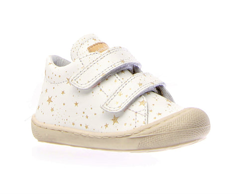 Naturino White Double Velcro Sneaker With Stars