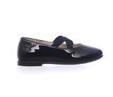 Naturino Black Patent Slip on with Criss-Cross Elastic