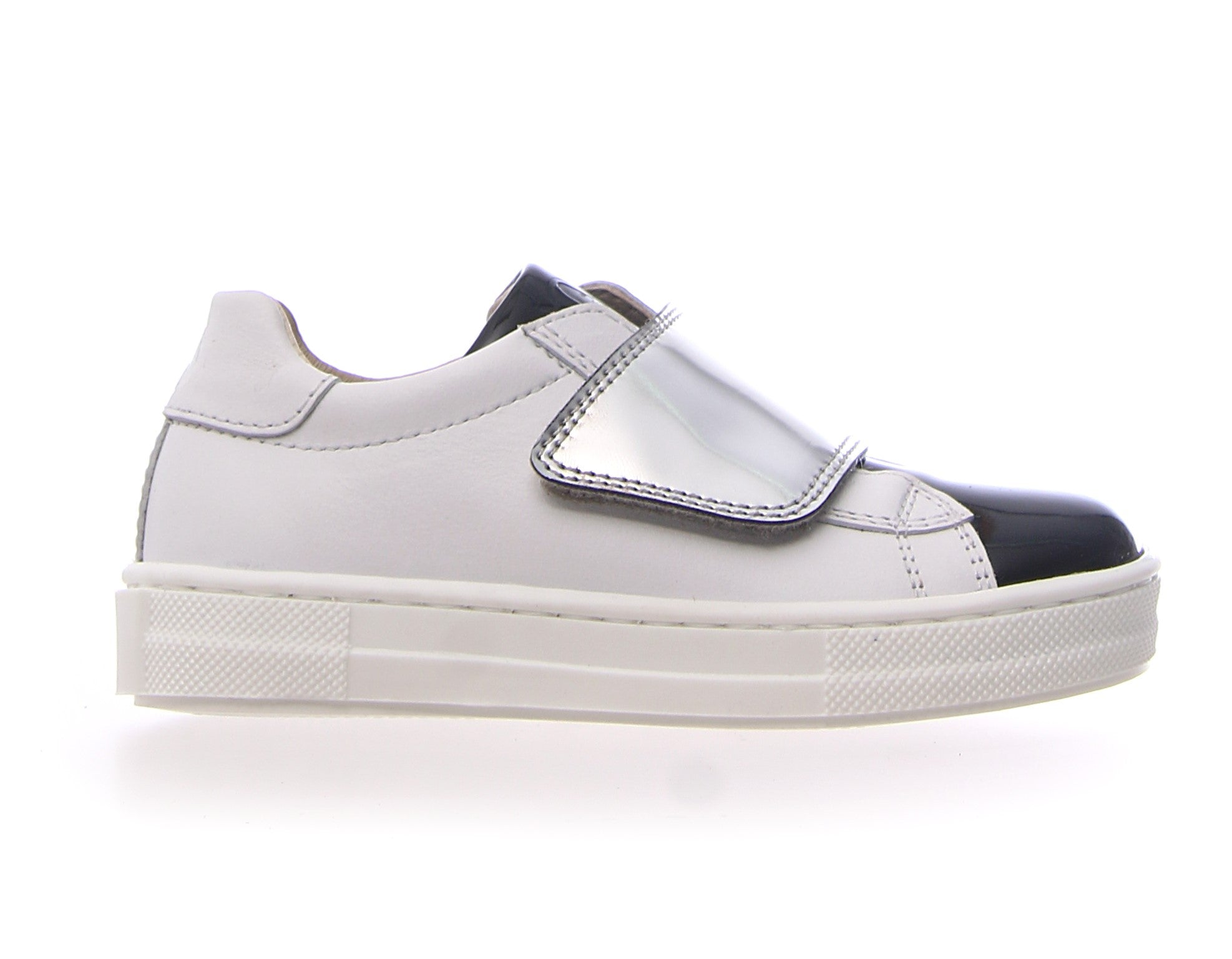 Naturino White and Black Sneaker with Silver Strap