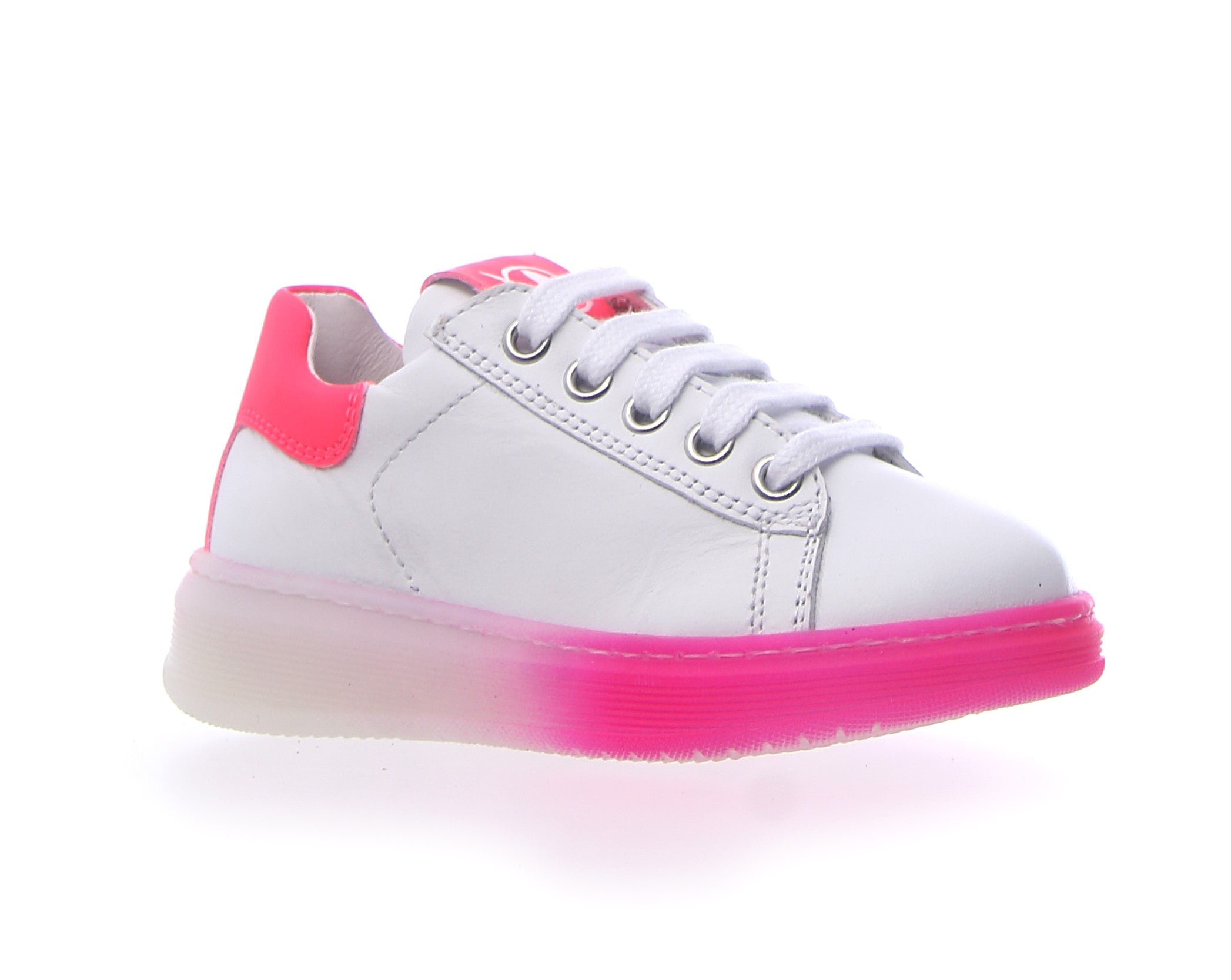 Naturino White Lace Sneaker with Pink Trim and Side Zip