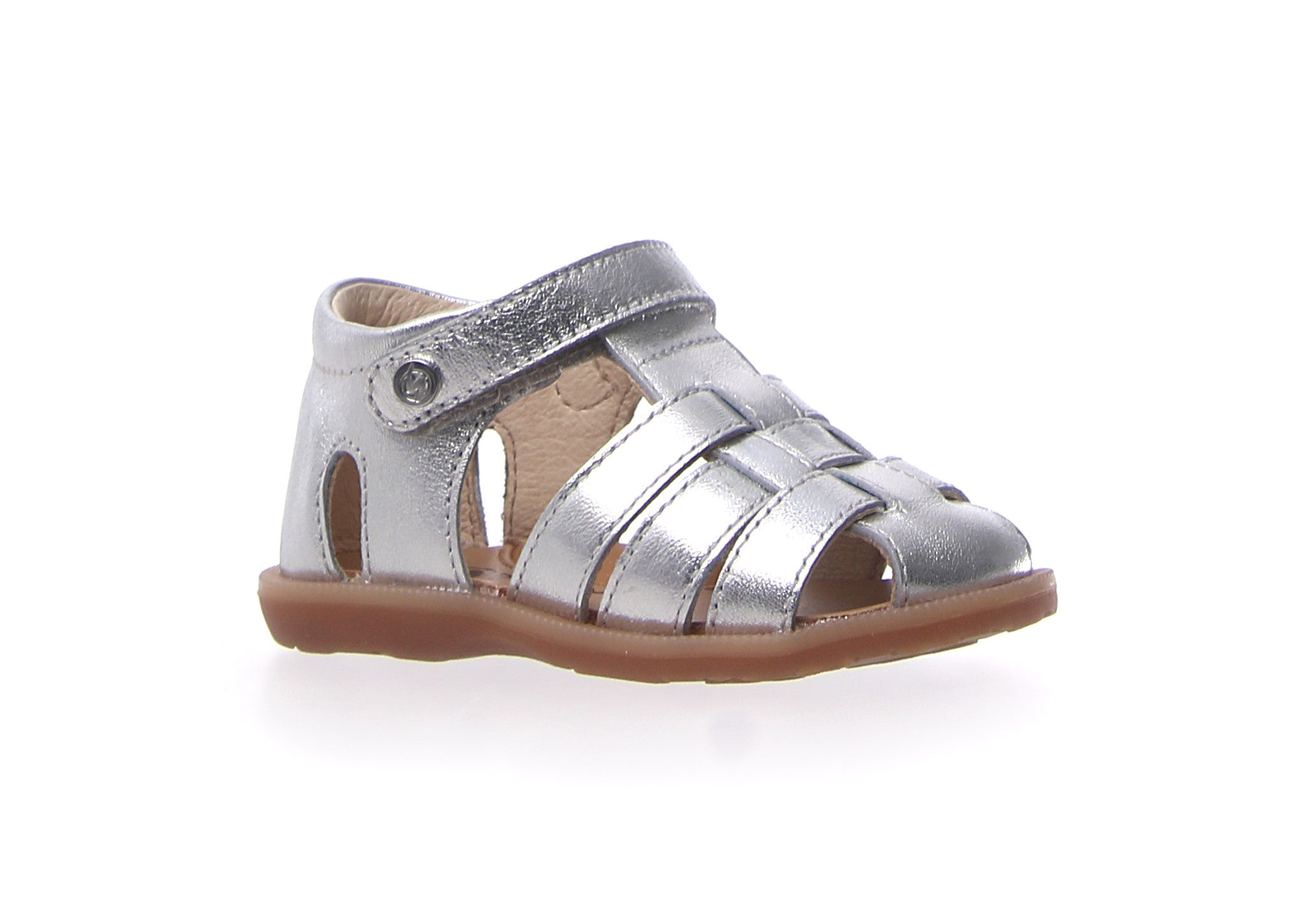 Naturino Silver Closed Sandal with Velcro Strap