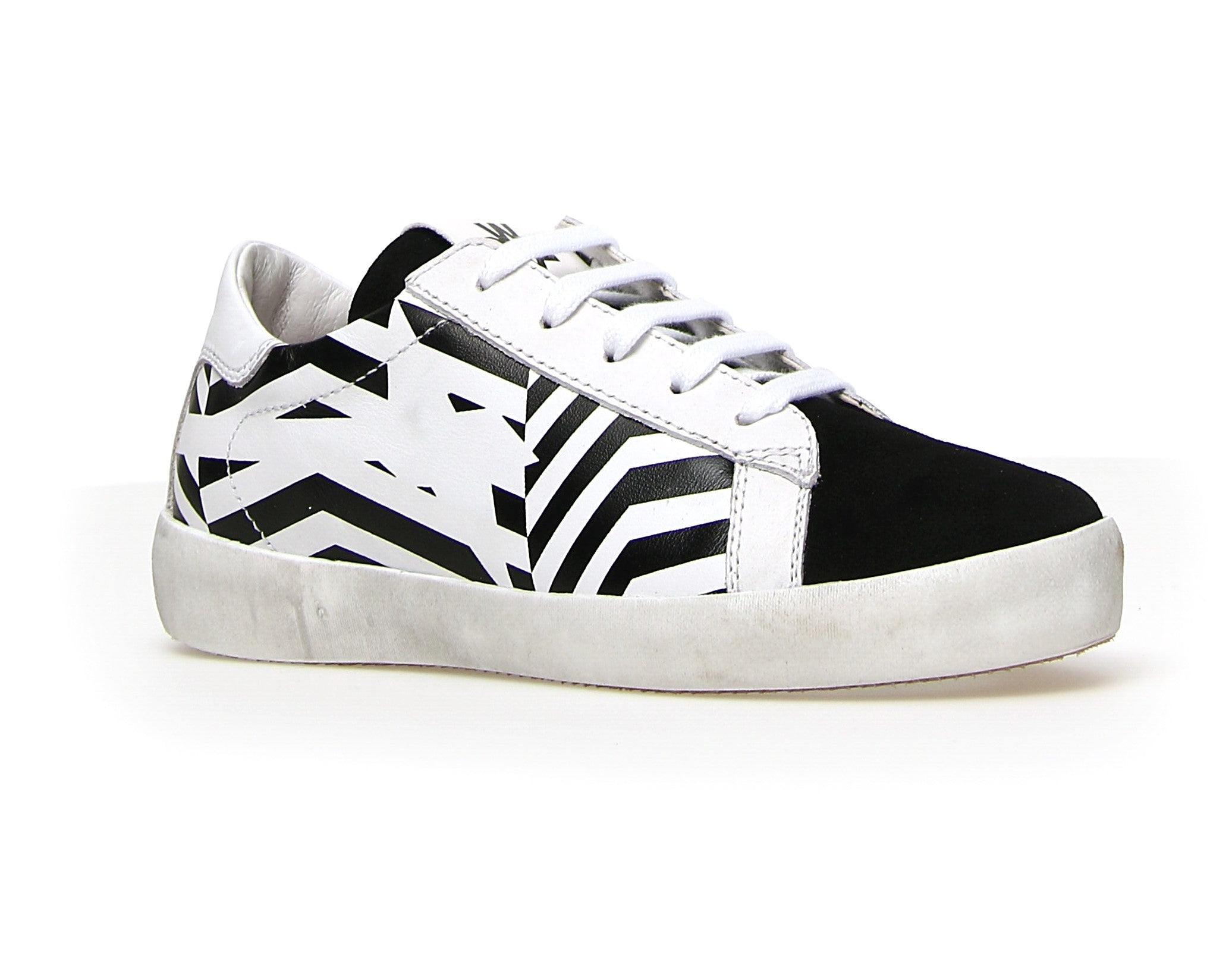 W6XYZ Black and White Lace Sneaker with Print and Side Zip
