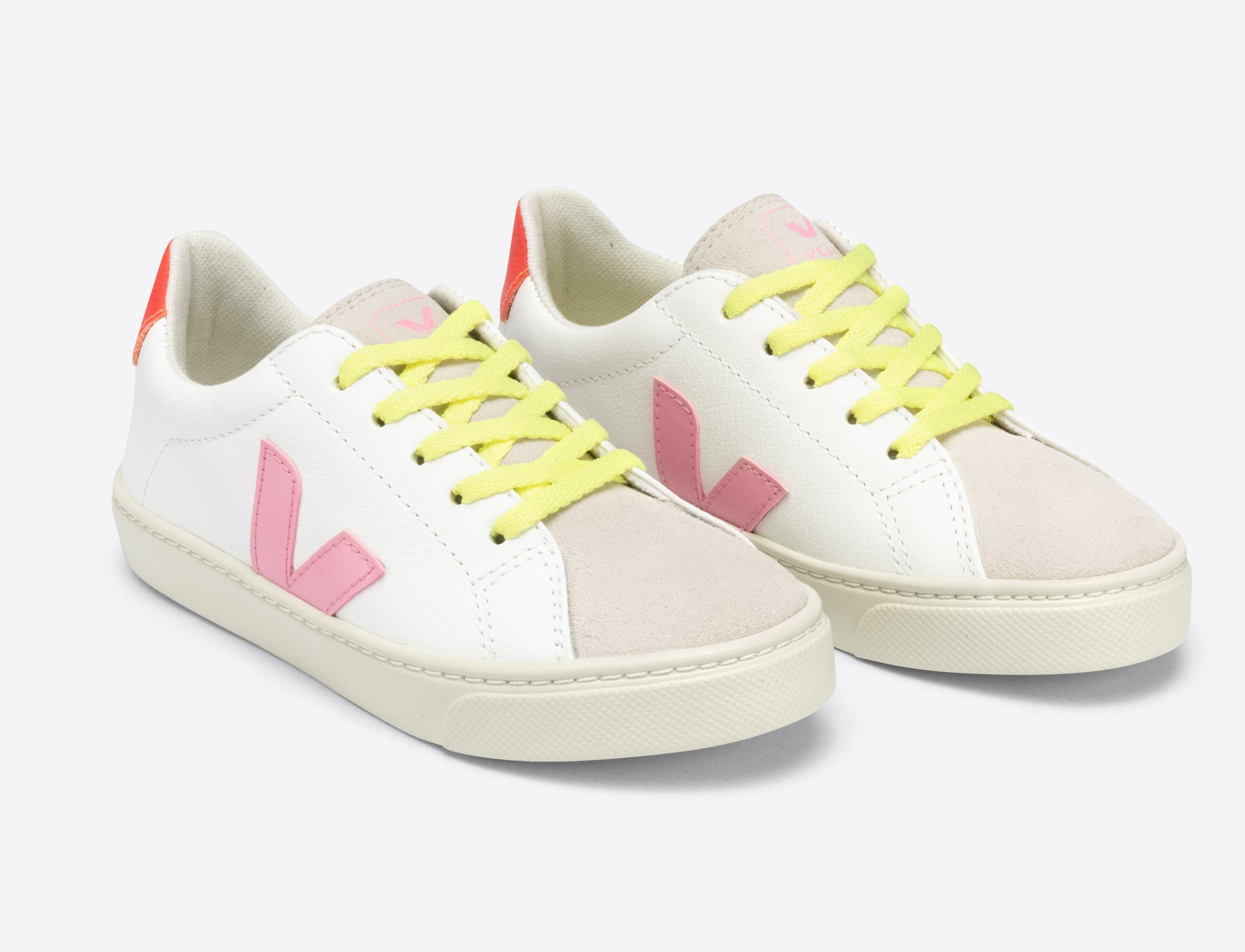 Veja White Lace Sneaker with Pink V and Orange Trim