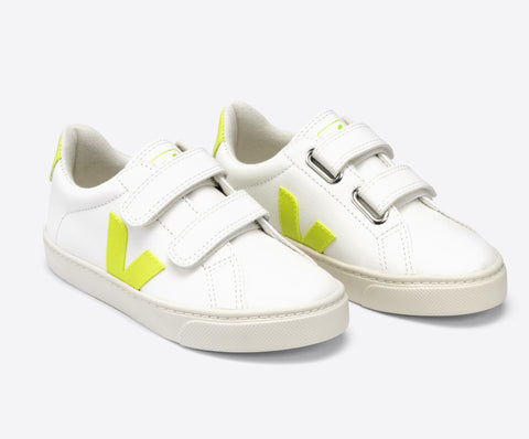 Veja White Velcro Sneaker with Neon Yellow V