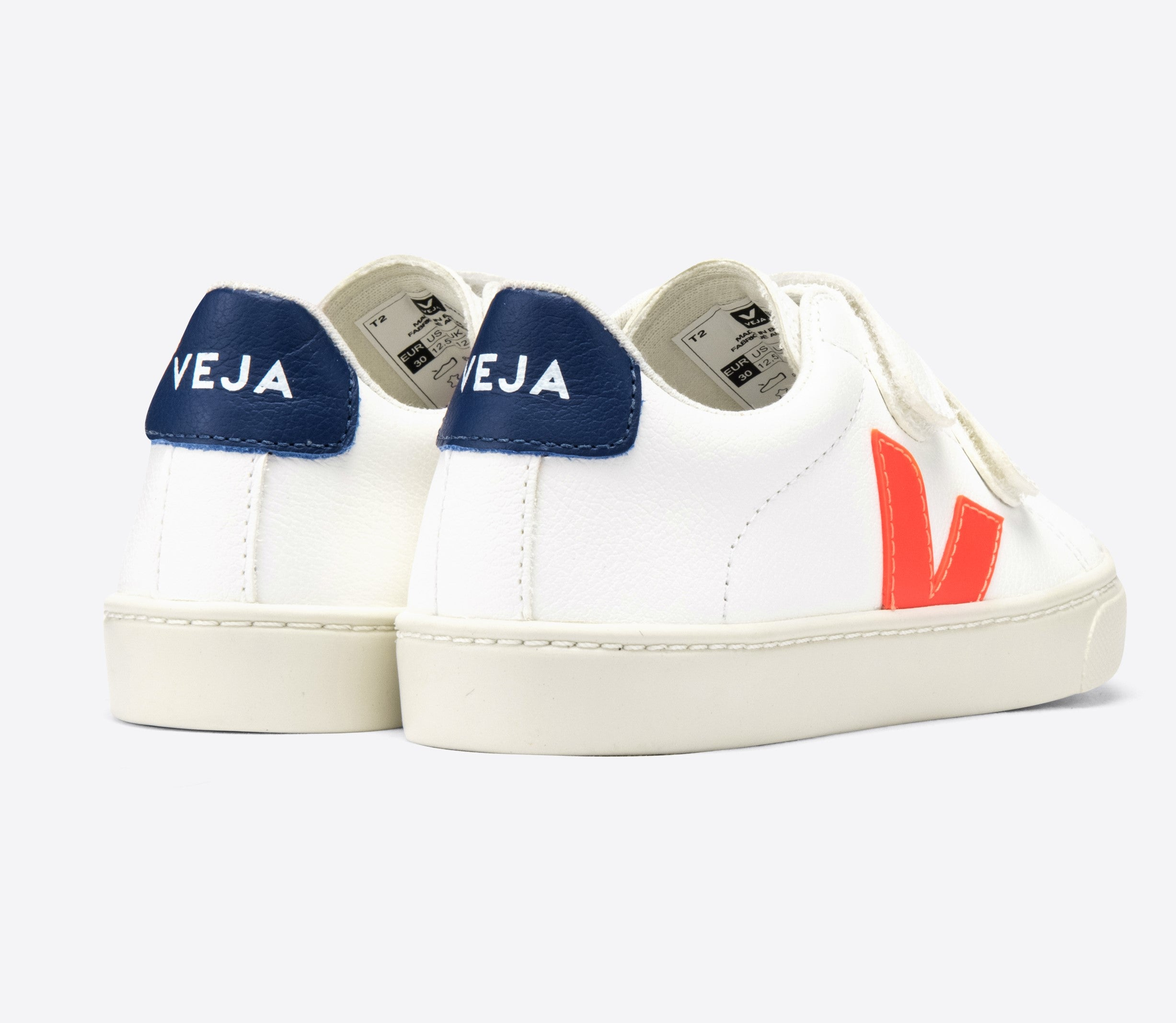 Veja White Velcro Sneaker with Orange V