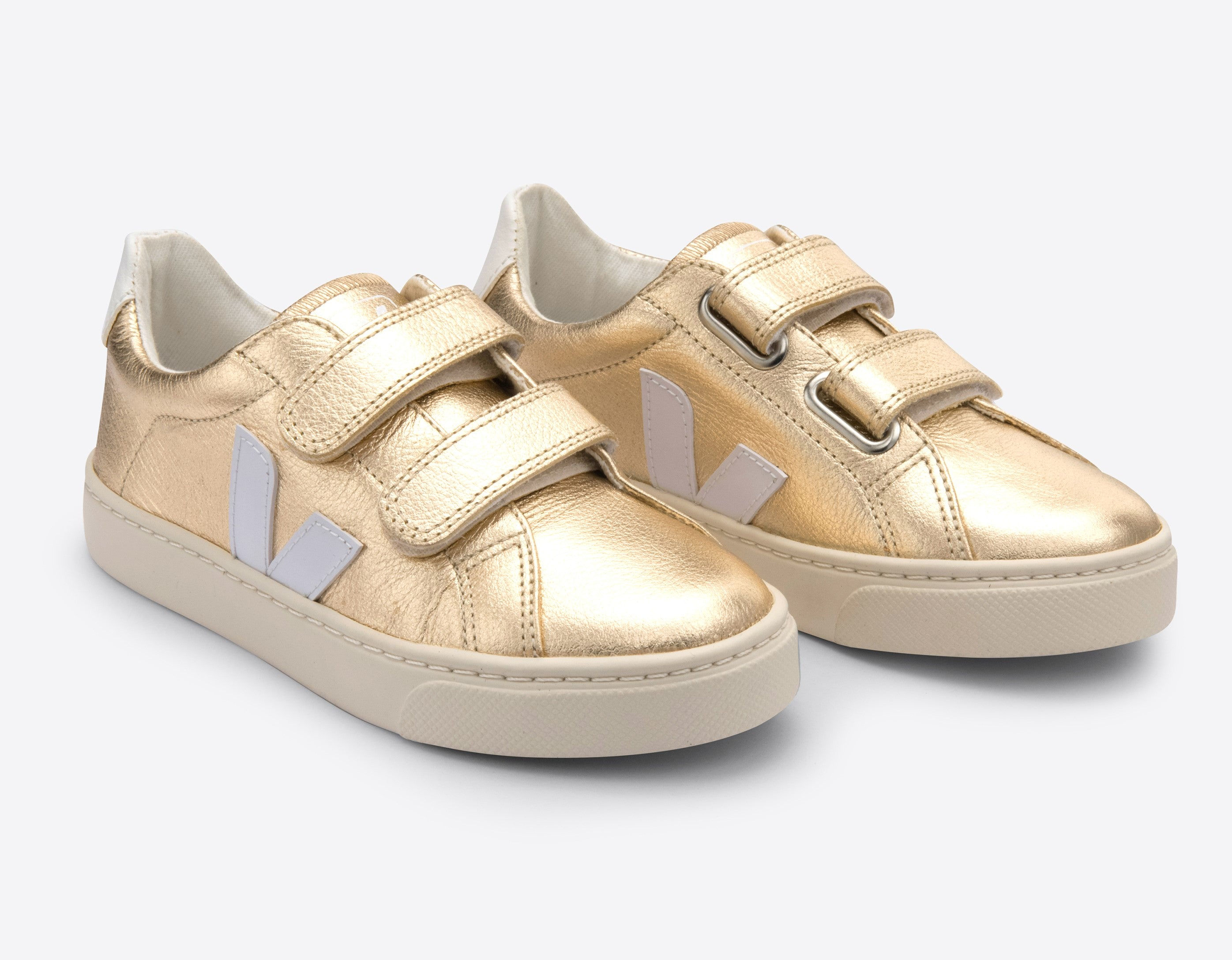 Veja Gold Velcro Sneaker with White V