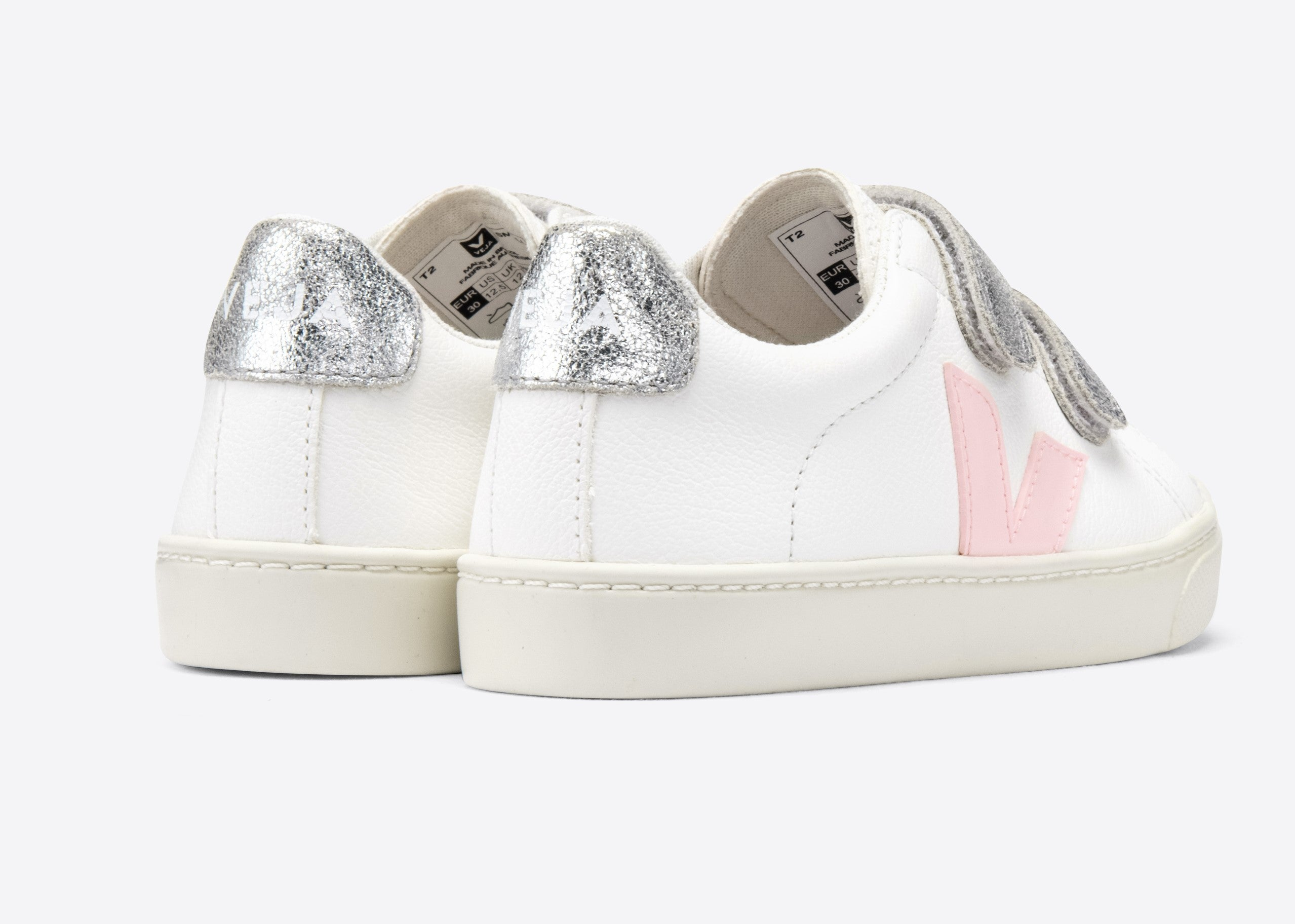Veja White Velcro Sneaker with Pink V and Silver Straps