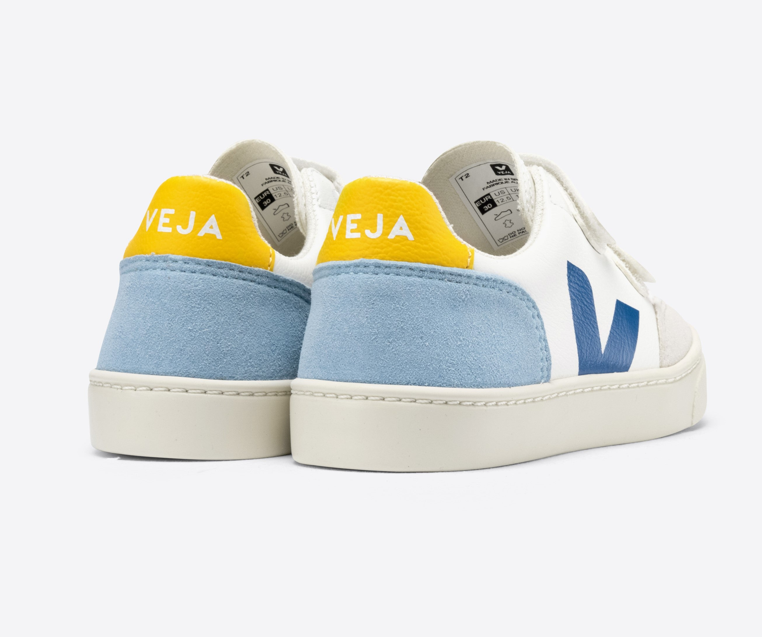 Veja White Velcro Sneaker with Blue V