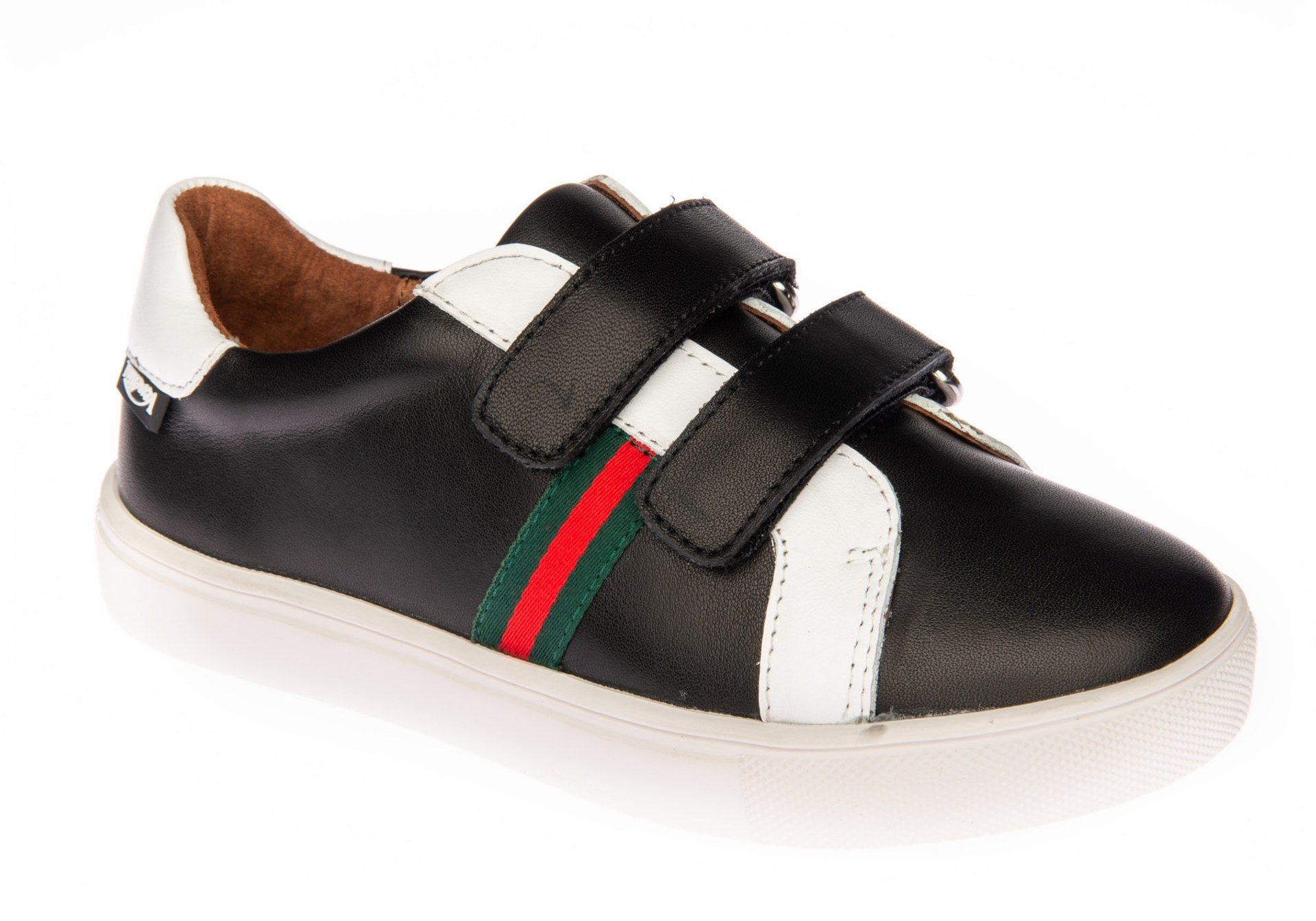 Venettini Black Double Velcro Sneaker with White Trim