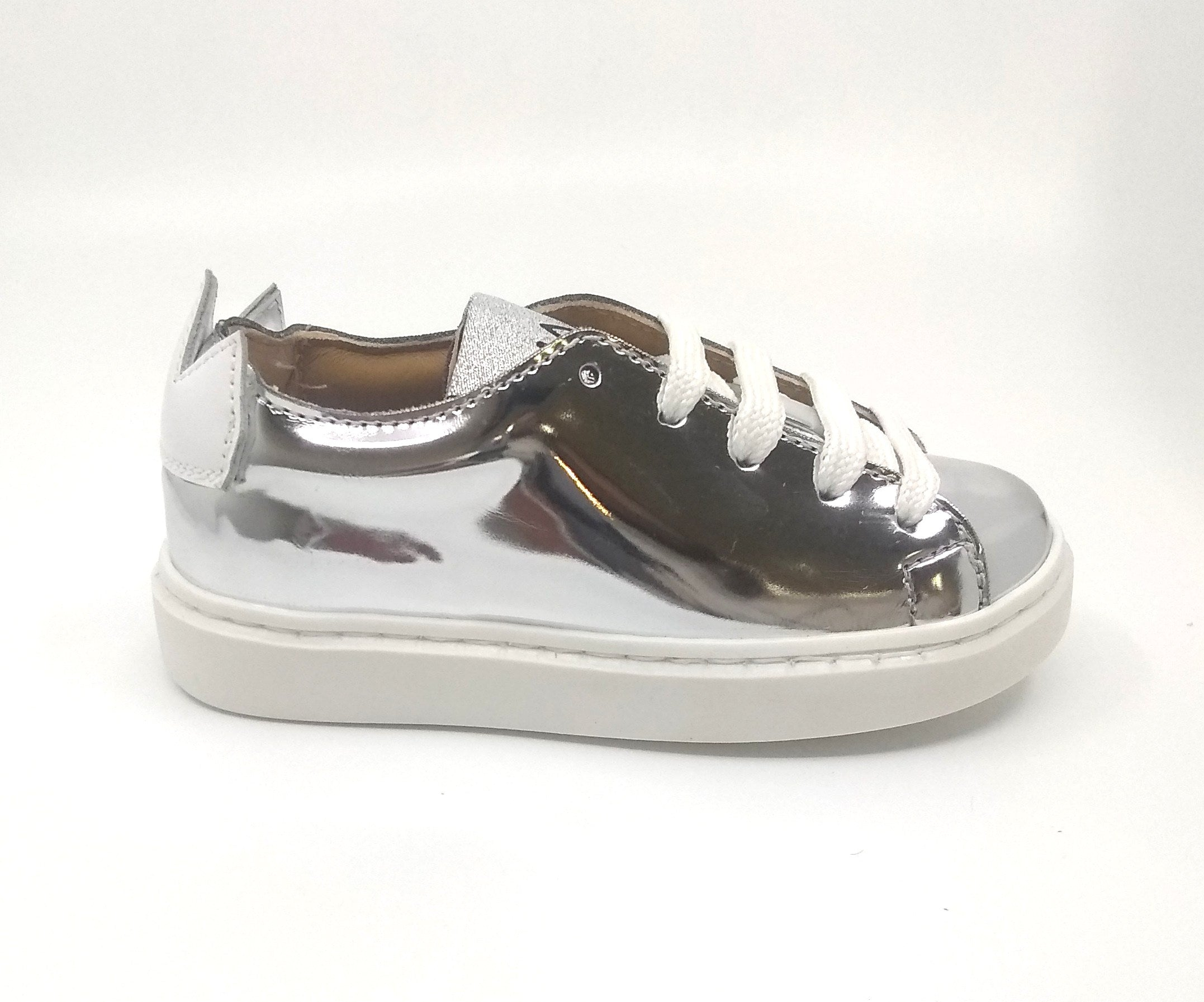 Manuel Silver Mirror Sneaker with White Crown