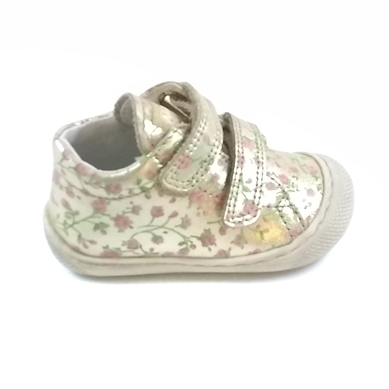 Naturino Gold With Pink Flowers Sneaker