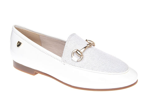 Venettini White Patent Loafer with Chain and Linen Front