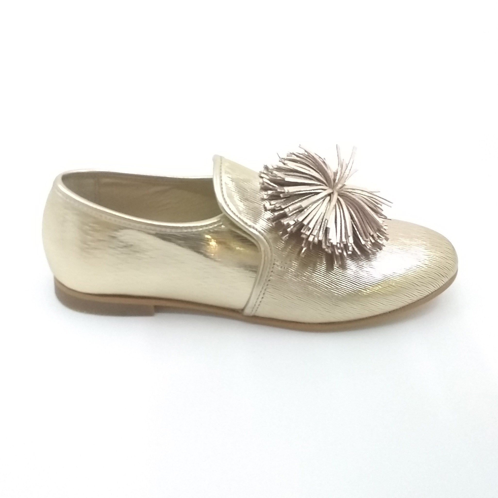 Luccini Gold Metalic Shoe with Pom Pom