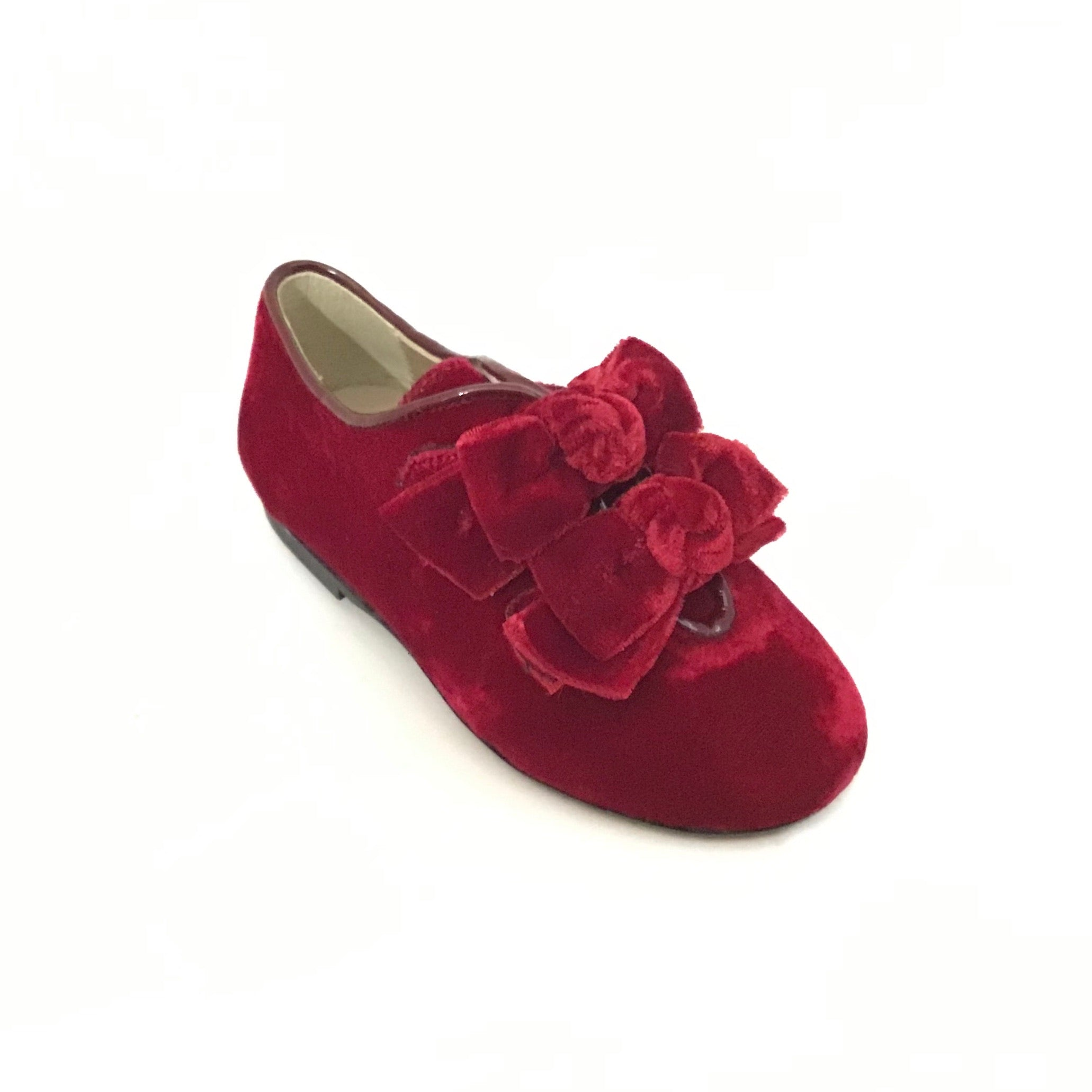 Papanatas Red Velvet Slip On with Double Bow
