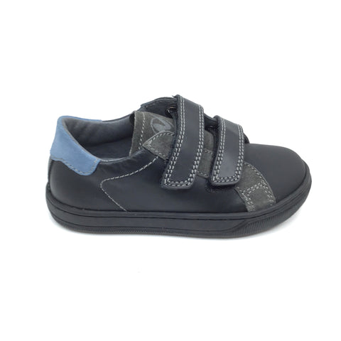 Naturino Velcro Black Sneaker with Gray Trim