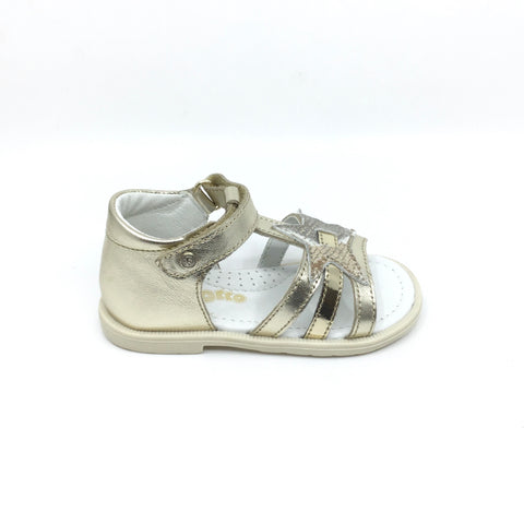 Falcotto Gold Velcro Sandal with Star