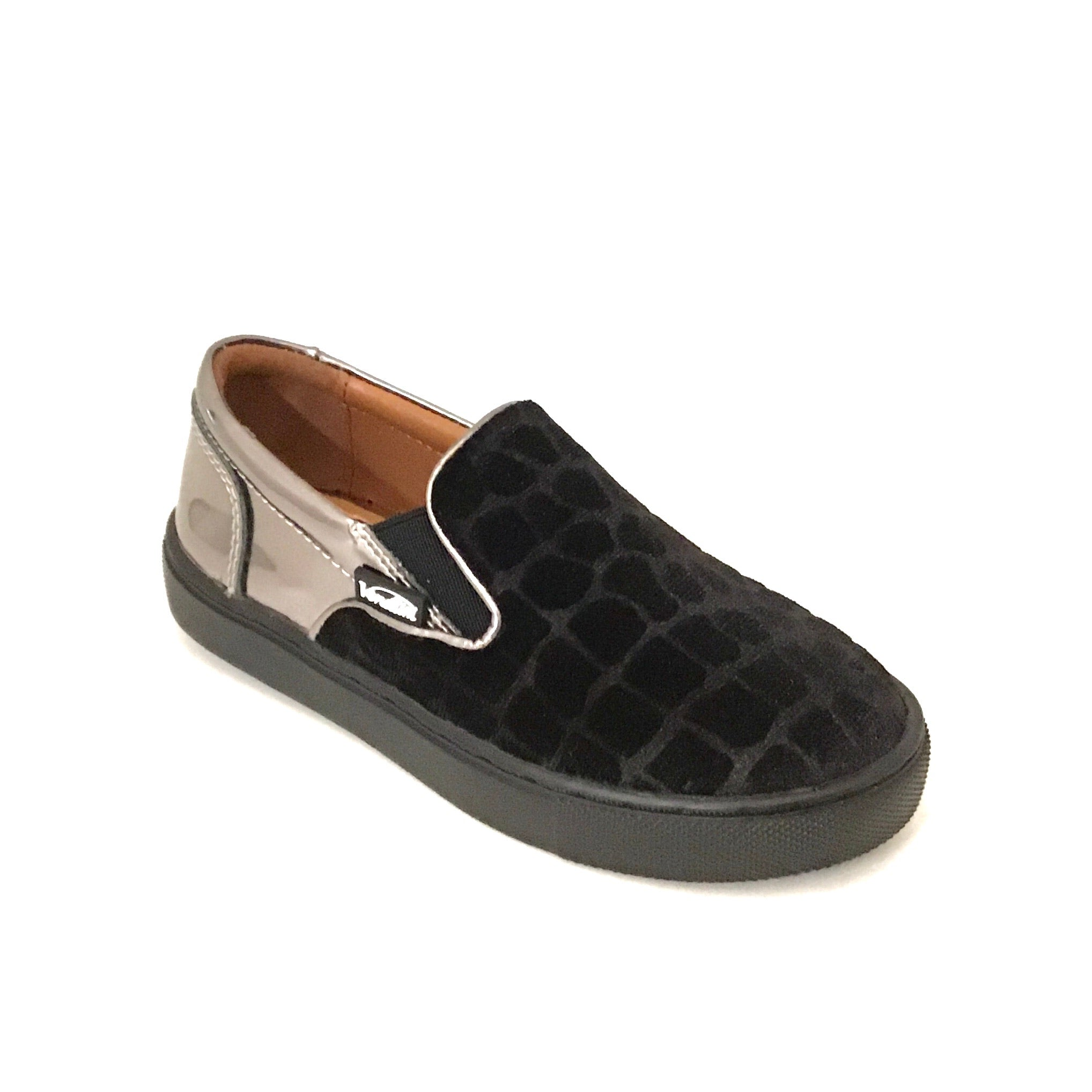 Venettini Stone Textured Black Velvet Slip On