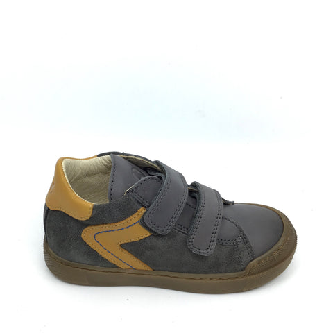 Naturino Gray Sneaker with Yellow Trim