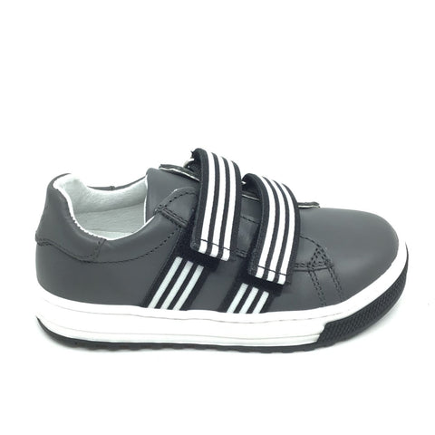 Naturino Gray Sneaker with Striped Double Velcro