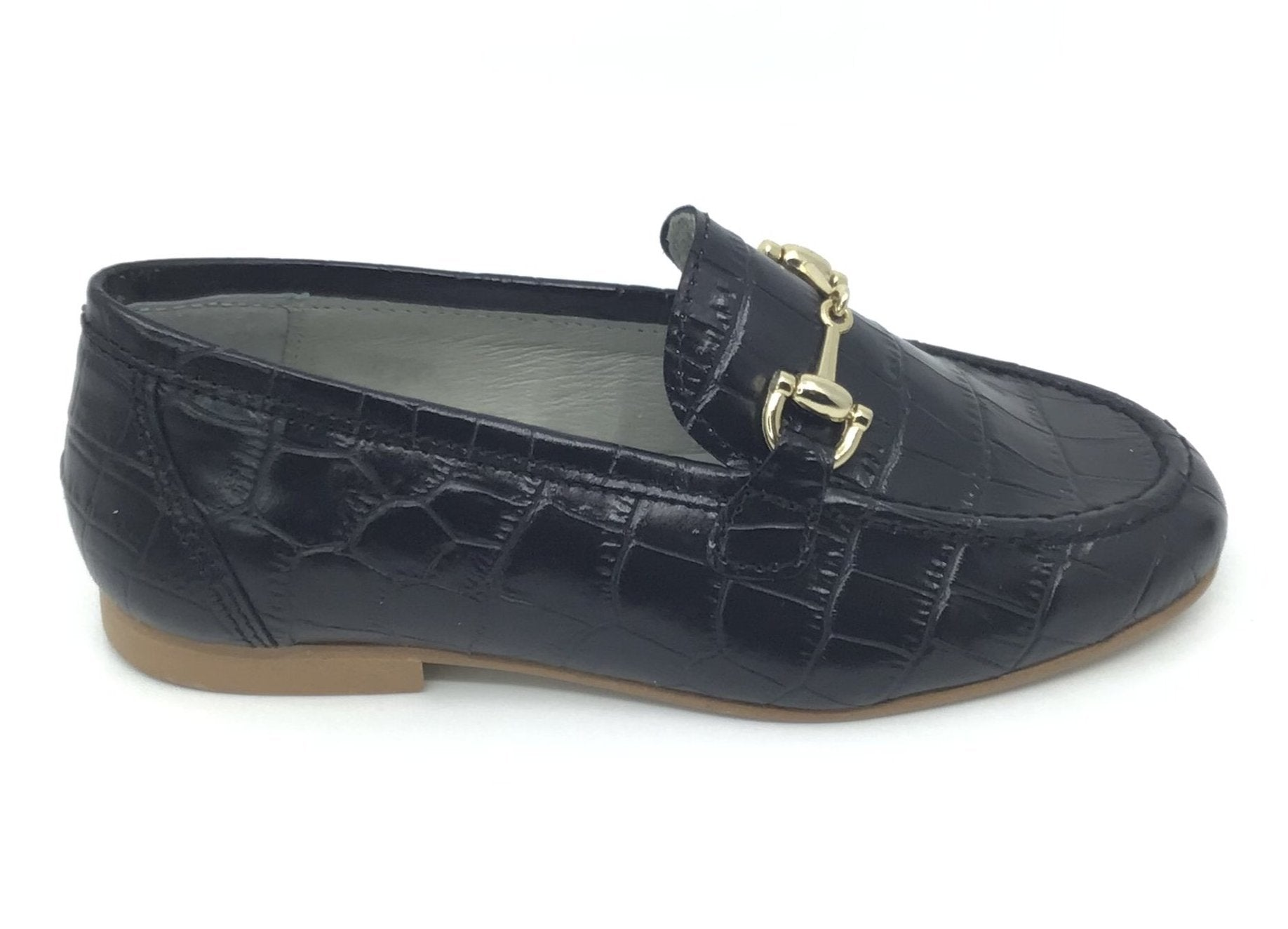 Luccini Black Crocodile Skin Chain Loafer