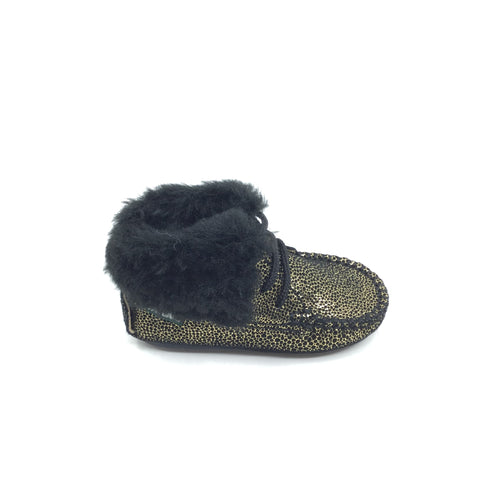 Fascani Gold Print Bootie with Fur