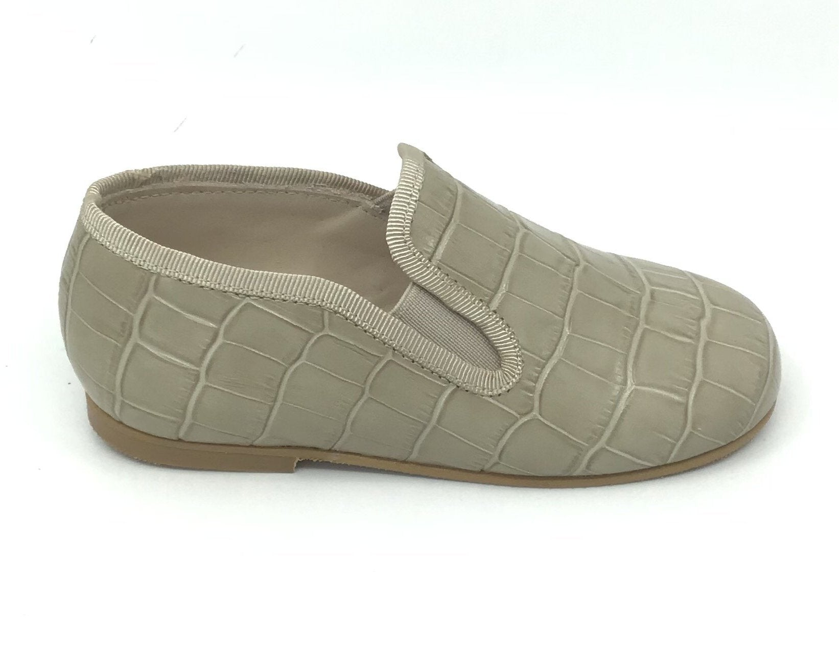 Luccini Taupe Crocodile Skin Loafer