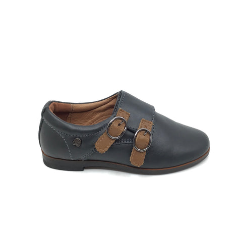 Veneziani Gray Shoe with Brown Velcro Buckles