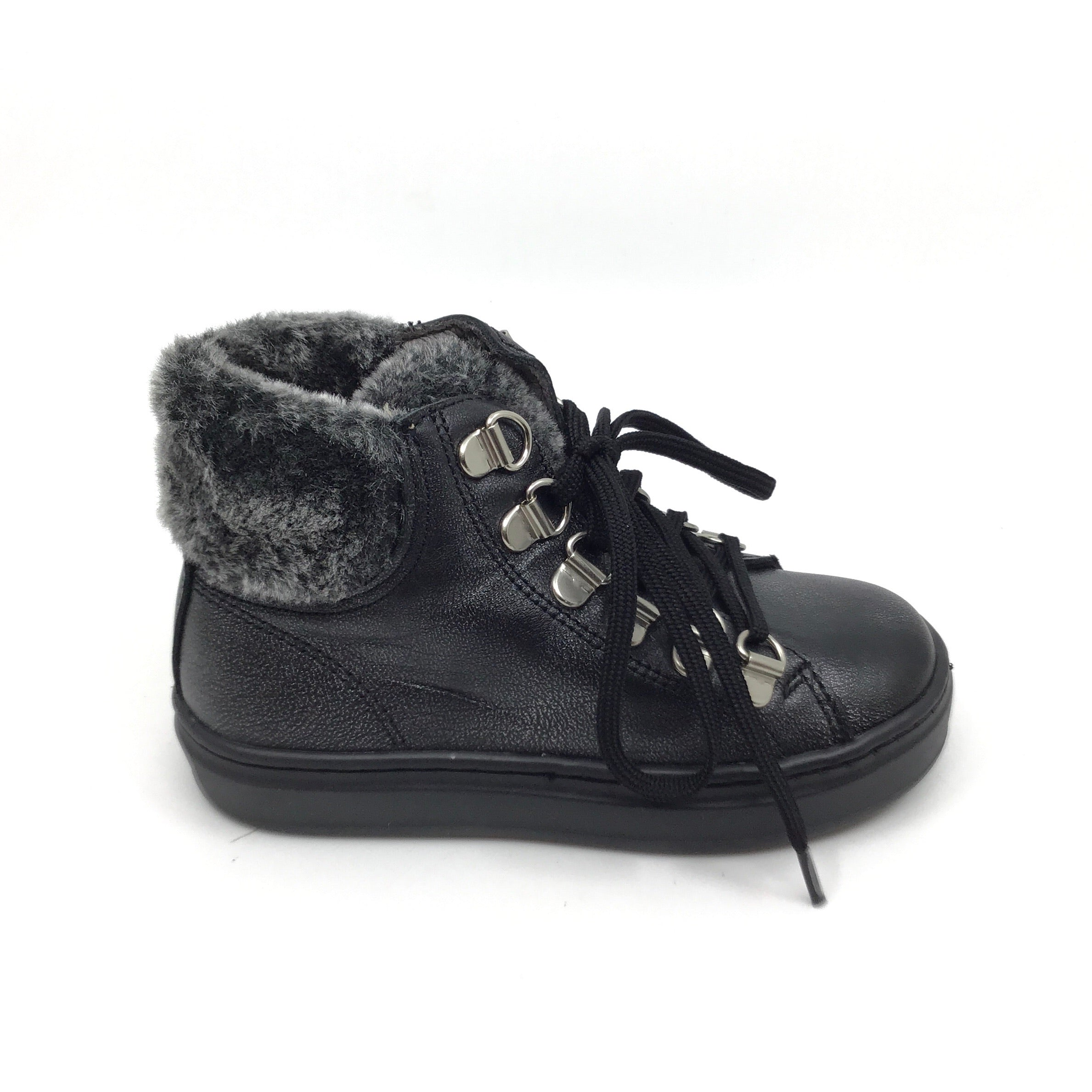 Blublonc Black Fur Collar Bootie