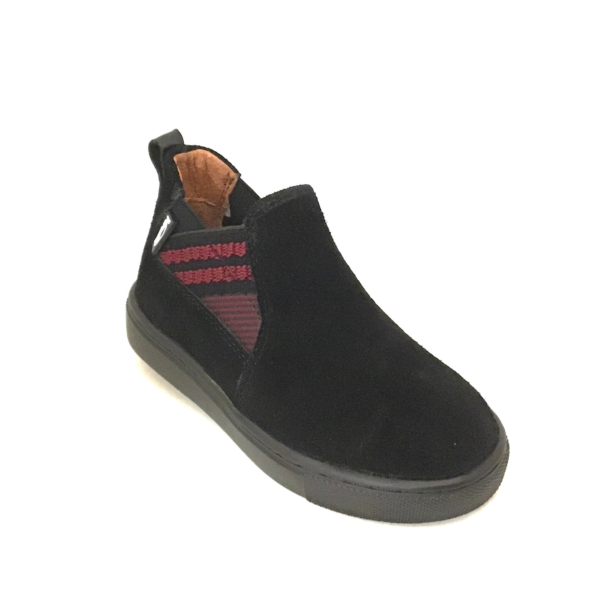 Venettini Black Suede Bootie with Bordeaux Stripes