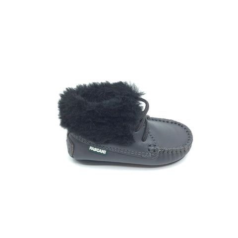 Fascani Gray Bootie with Black Fur