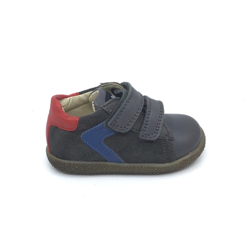 Falcotto Double Velcro Gray Sneaker with Blue Trim