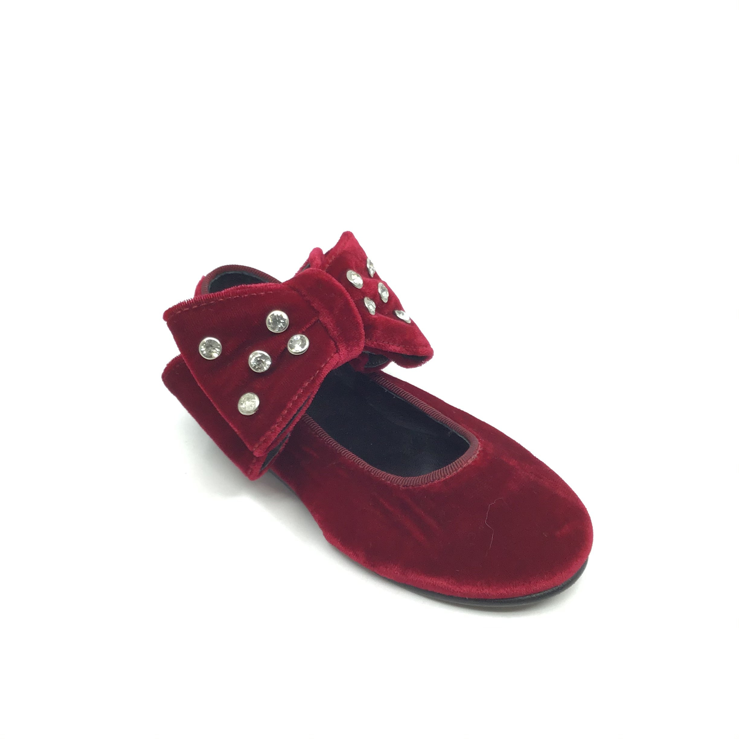 Luccini Red Velvet Shoe with Double Bow
