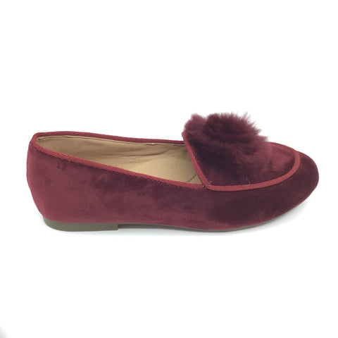 Veneziani Red Slip on with Fur Pom Pom