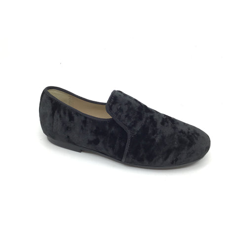 Papanatas Black Crushed Velvet Slip On