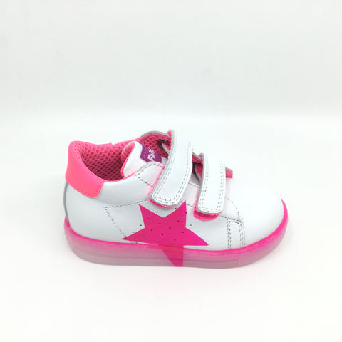 Falcotto White Sneaker with Pink Star