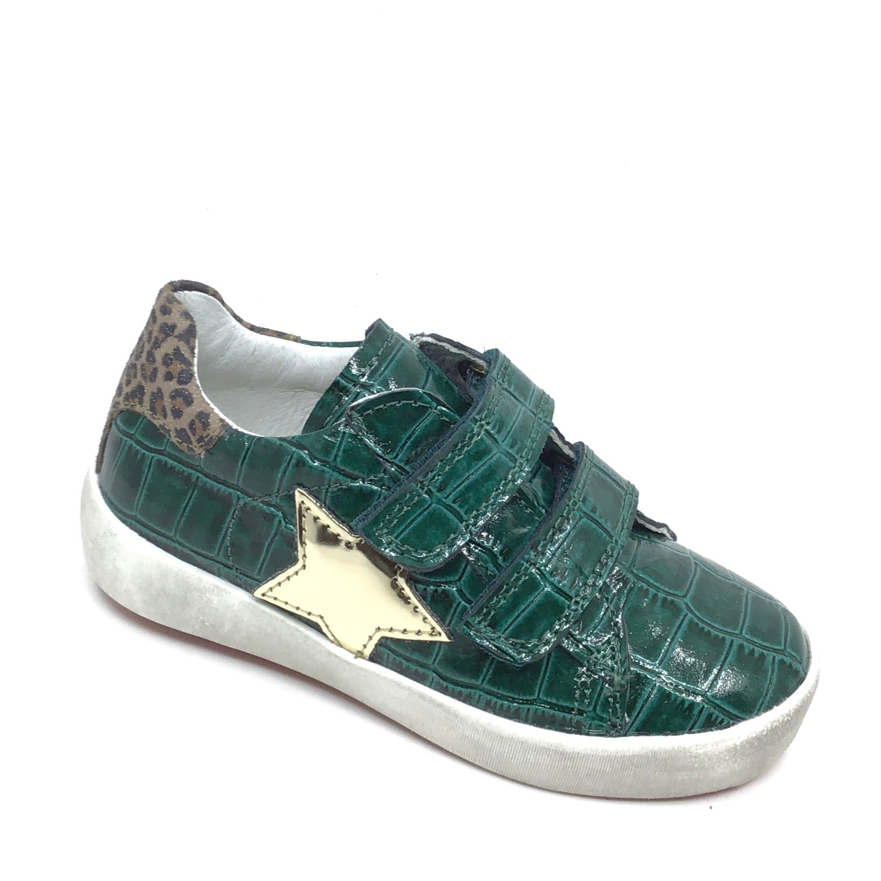 Naturino Green Alligator Skin Sneaker with Star