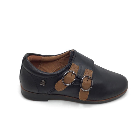Veneziani Black Shoe with Brown Velcro Buckles