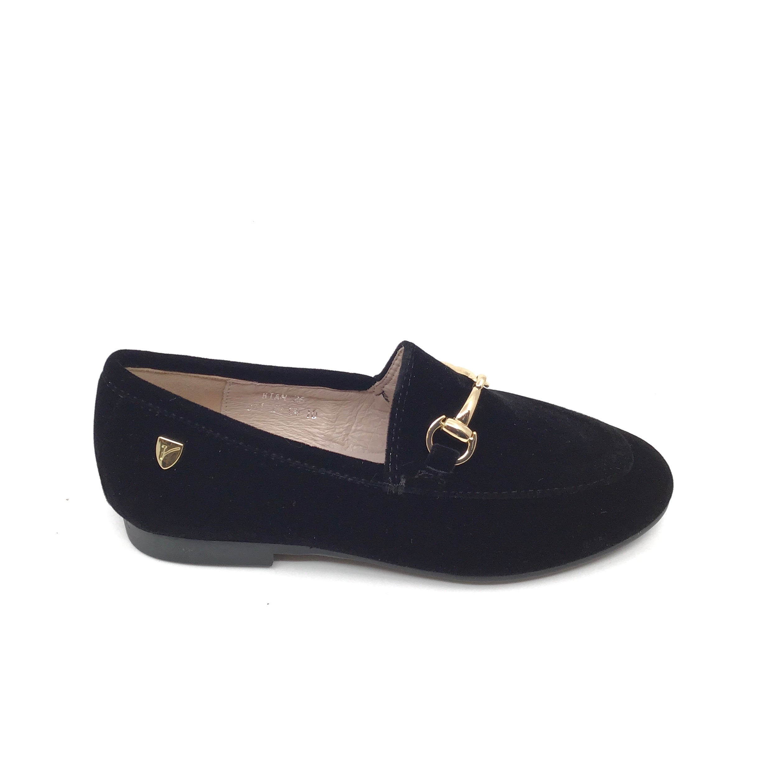 Venettini Black Velvet Slip On with Chain
