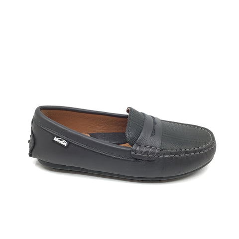 Venettini Gray Penny Loafer with Texture