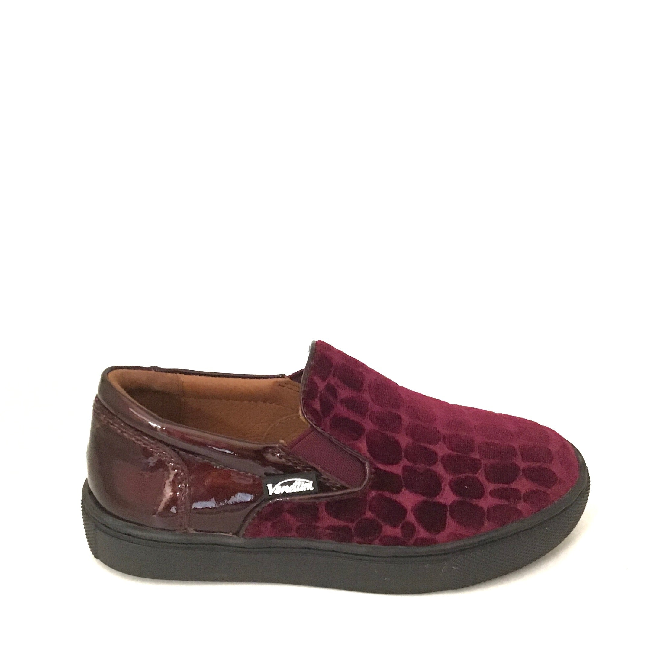 Venettini Stone Textured Bordeaux Velvet Slip On