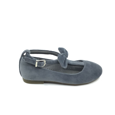 Veneziani Gray Velvet T Strap with Bow