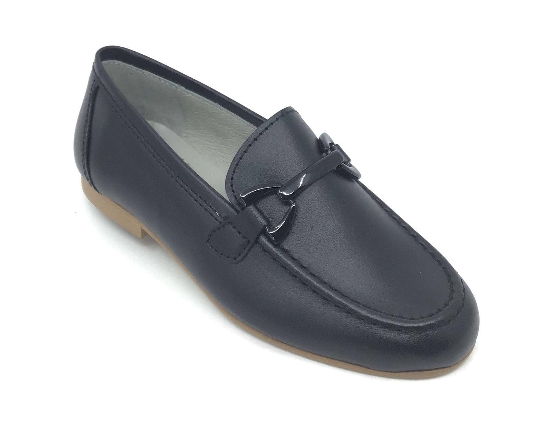 Luccini Black Loafer with Black Chain