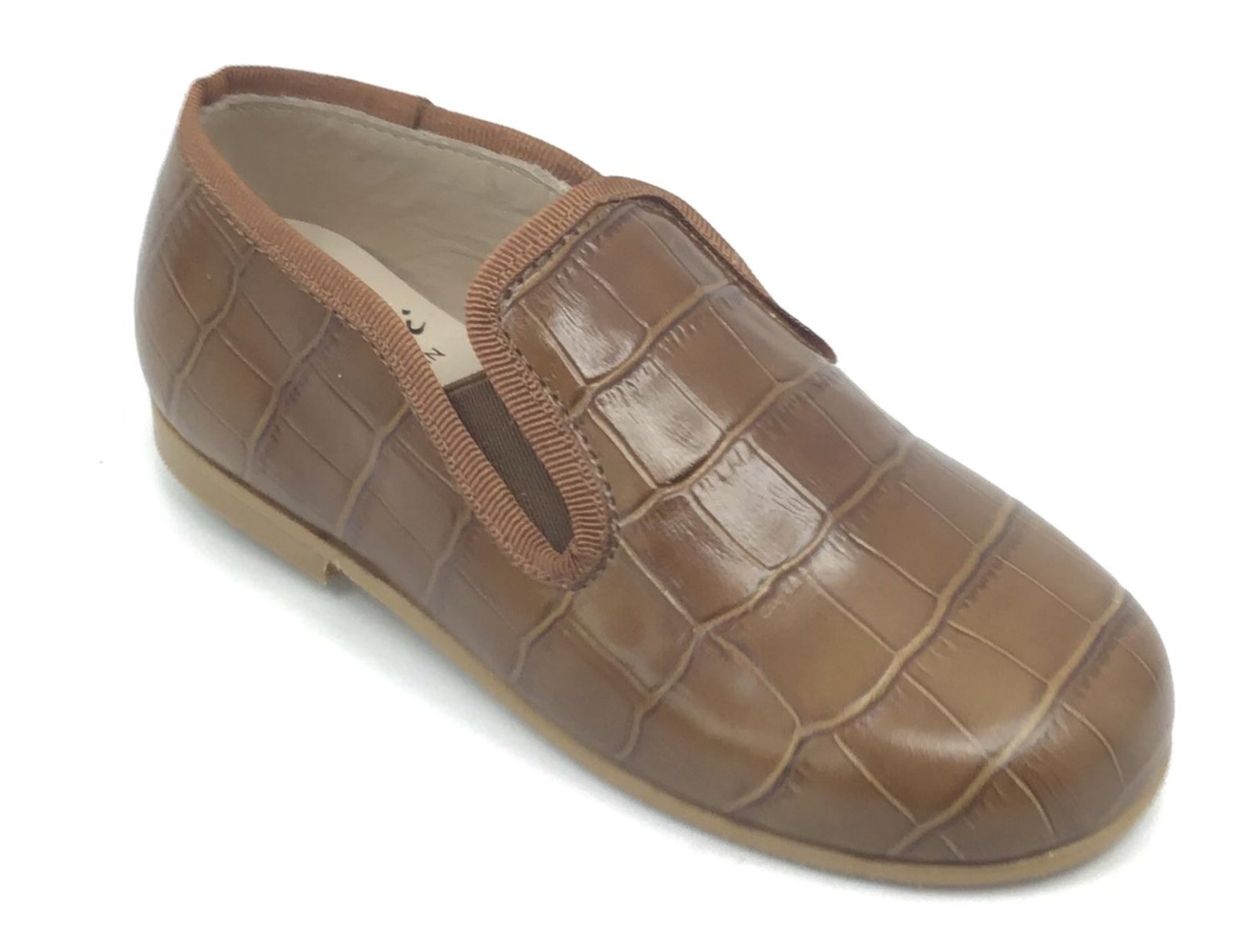 Luccini Brown Crocodile Skin Chain Loafer
