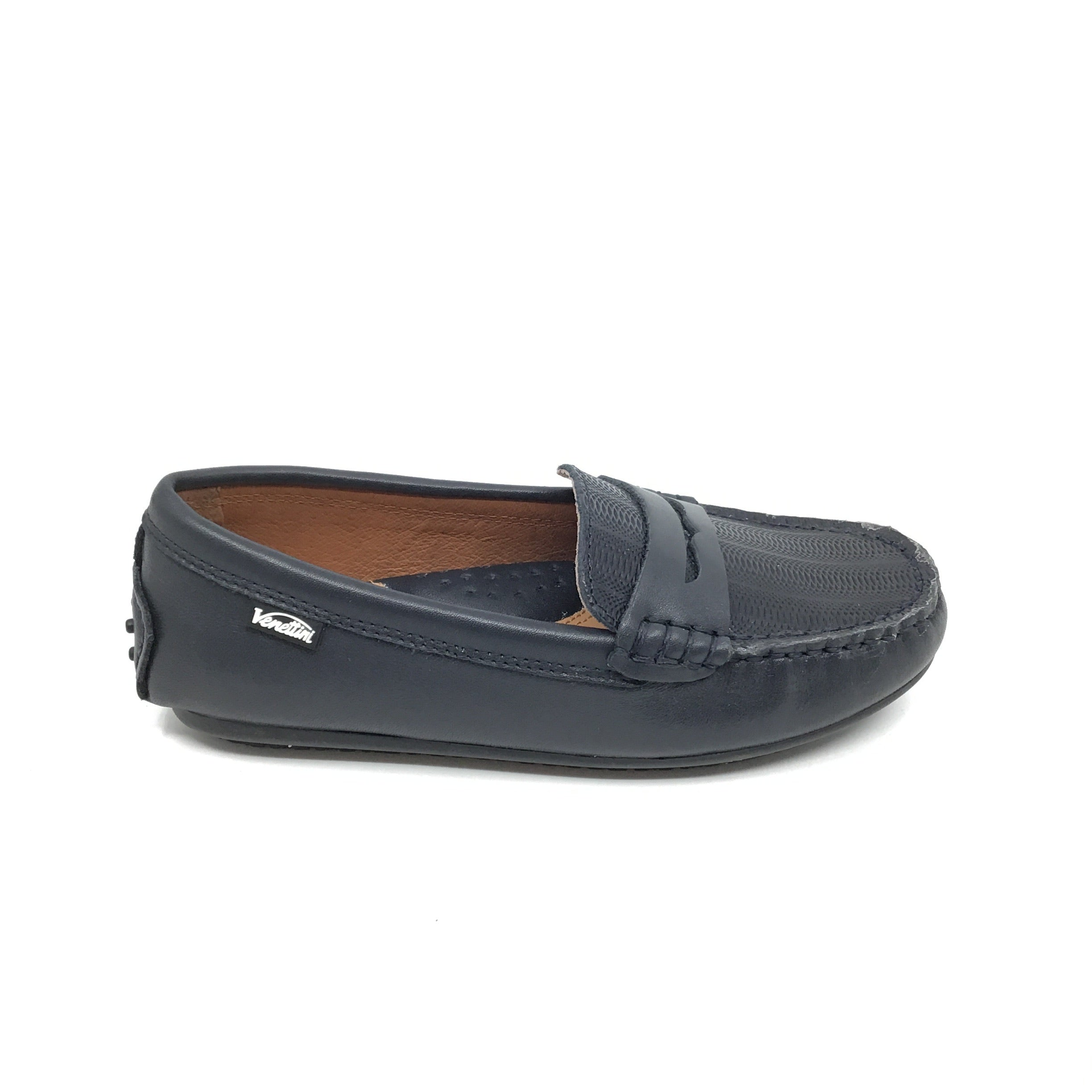 Venettini Navy Penny Loafer with Texture