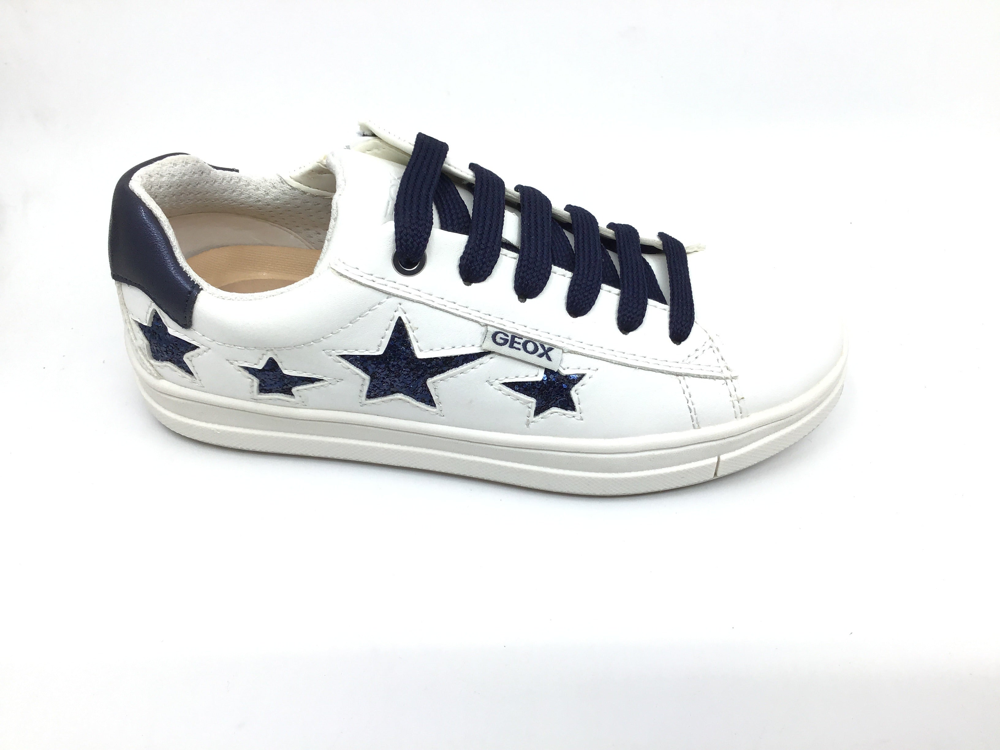 Geox White Lace Sneaker with Blue Stars